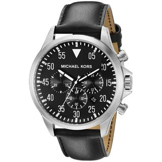 Michael Kors Men's MK8442 'Gage' Chronograph Black Leather Watch