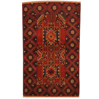 Herat Oriental Afghan Hand-knotted Tribal Balouchi Red/ Navy Wool Rug (2'9 x 4'6)
