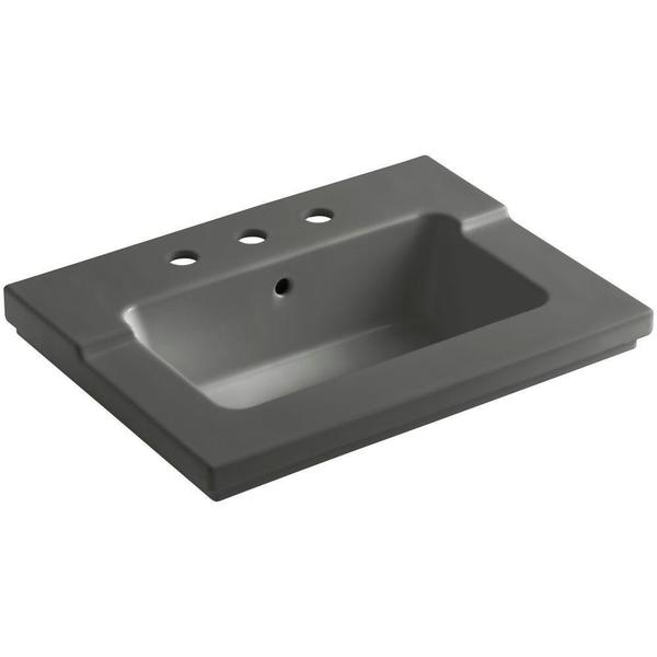 Kohler Tresham 25-7/16 inch Vitreous China Single Basin Vanity Top in Thunder Grey with Thunder Grey Basin
