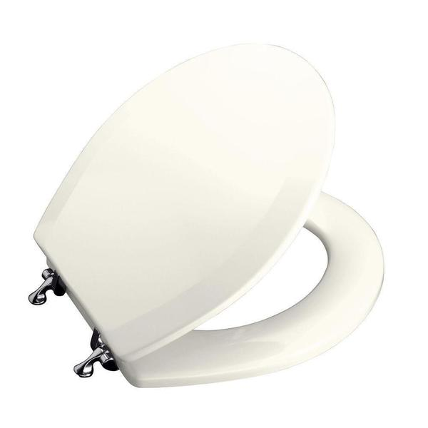 Kohler Triko Molded Toilet Seat, Round, Closed-front with Cover and Polished Chrome Hinge in Biscuit