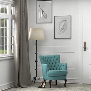 Portfolio Priscilla Turquoise Blue Velvet Petite Arm Chair