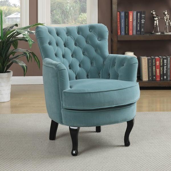 Portfolio Priscilla Turquoise Blue Velvet Chair