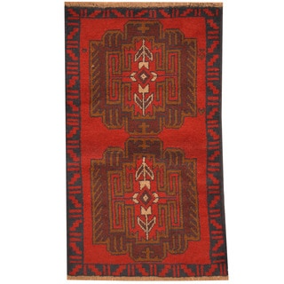 Herat Oriental Afghan Hand-knotted Tribal Balouchi Red/ Gray Wool Rug (2'8 x 4'6)