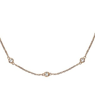 14k Gold 1.50ct Diamonds by the Yard Bezel Set Station Necklace (G-H, SI1-SI2)