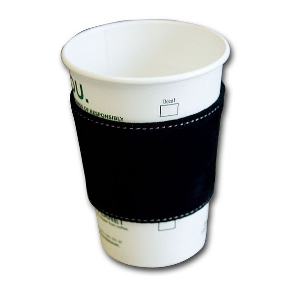 Black Suede Leather Coffee Sleeve