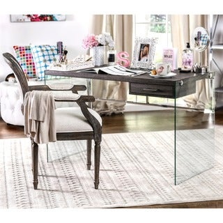 Furniture of America Moira Weathered Elm Glass Base Writing Desk