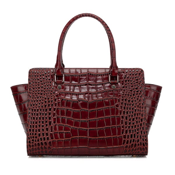 Taupe Croc Leather Top Handle Handbag
