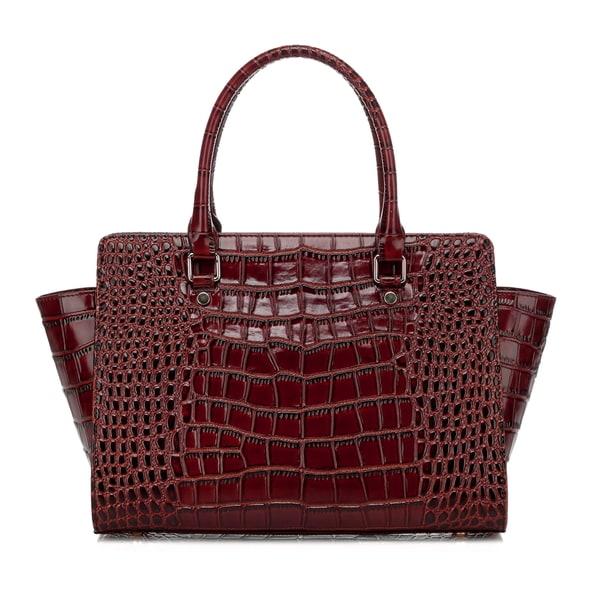 Taupe Croc Leather Top Handle Handbag