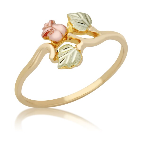10k Yellow Gold and Black Hills Gold Rosebud Ring