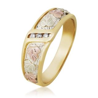 Black Hills 12k Tri-color Gold Men's Diamond Accent Ring