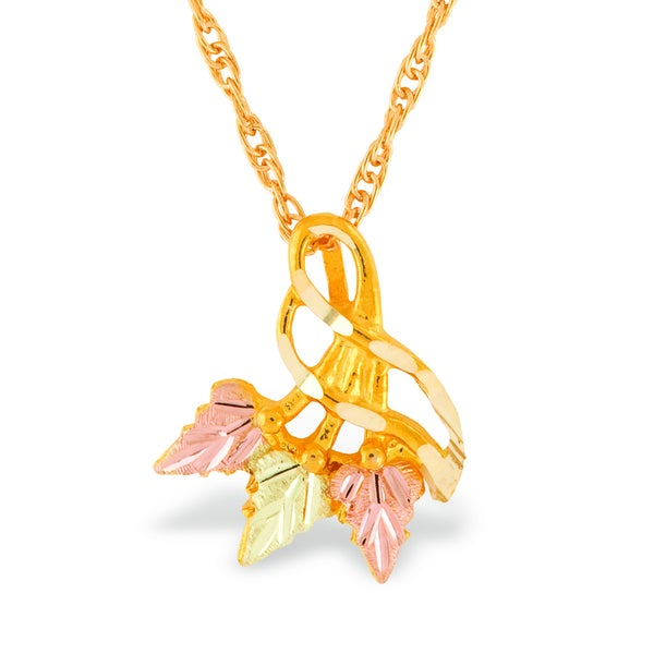 10k Yellow Gold and Black Hills Gold Tri-leaf Pendant