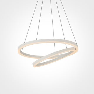 VONN Lighting Tania Duo 24 inches LED Chandelier, Adjustable Suspension Fixture, Modern Chandelier Lighting in White