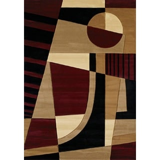 Contours Urban Angles Burgundy Area Rug (7'10 x 10'6)