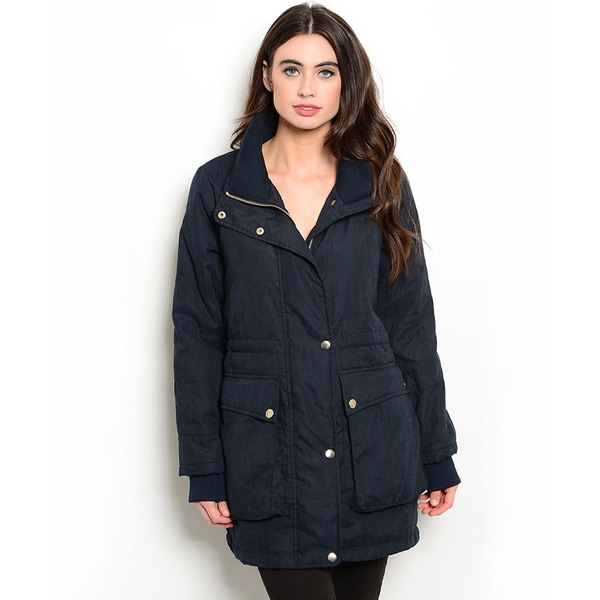 Shop the Trends Women's Down Coat With Zip And Snap Button Closure