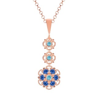 Lucia Costin Sterling Silver Blue Crystal Pendant