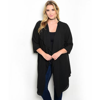 Shop the Trends Women's Plus Size 3/4-Length Sleeve Woven Cardigan