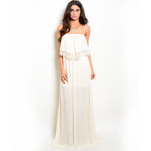 Shop the Trends Women's Spaghetti Strap Scallop Crochet Trim Maxi Dress with Flounce Layer