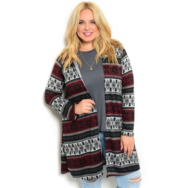 Shop the Trends Women's Plus Size Long Sleeve Knit Open Front Cardigan