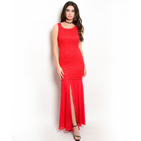 Shop the Trends Women's Sleeveless Lace Open Back Maxi Dress