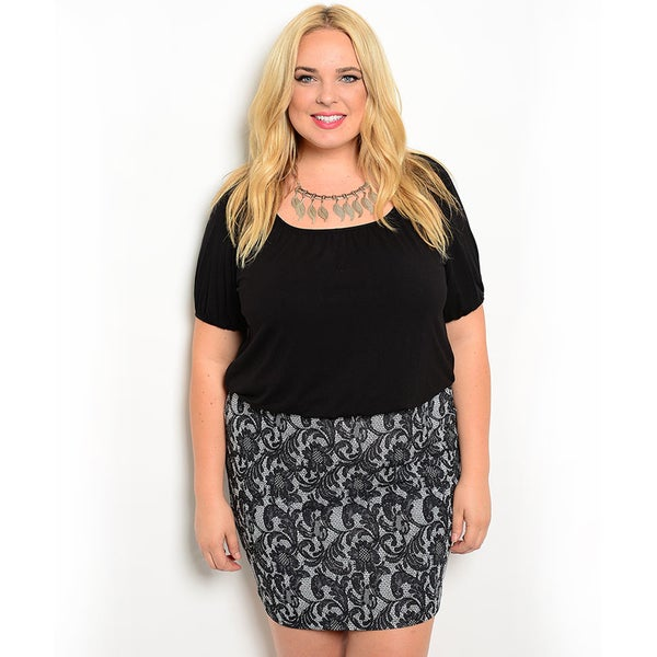 Shop the Trends Women's Plus Size Short-Sleeve Combination Dress