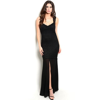 Shop the Trends Women's Sleeveless Sweetheart Neck Lace Maxi Dress With Chiffon Hem