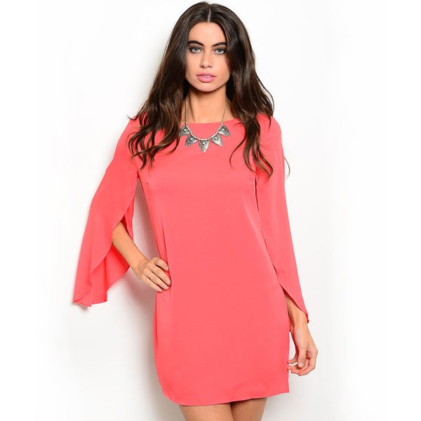 Shop the Trends Women's Crew Neck Woven Shift Dress With Slitted Hem