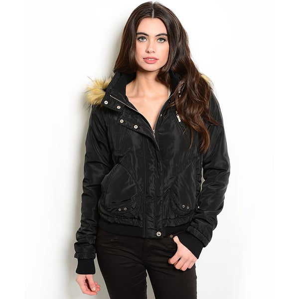 Shop the Trends Women's Long Sleeve Down Jacket With Faux Fur Trim Hood