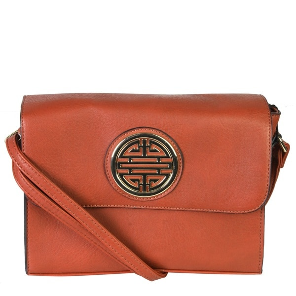 Rimen and Co. Leather Flapover Crossbody Messenger Handbag