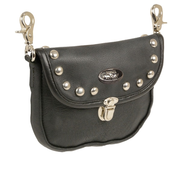 Leather Belt Bag With Studded Flap and Belt Clasps