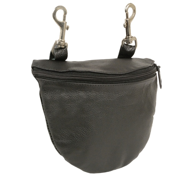 Leather Zipper Closure Belt Bag With Belt Clasps