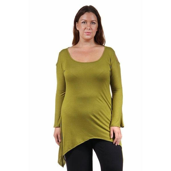 24/7 Comfort Apparel Women's Plus Size Split-Sleeve High-Low Tunic