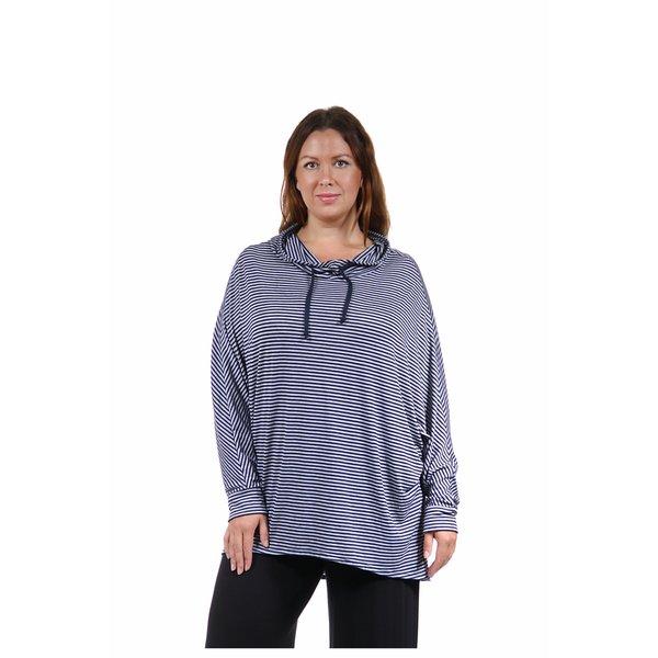 24/7 Comfort Apparel Women's Plus Size Dolman Sleeve Striped Hoodie