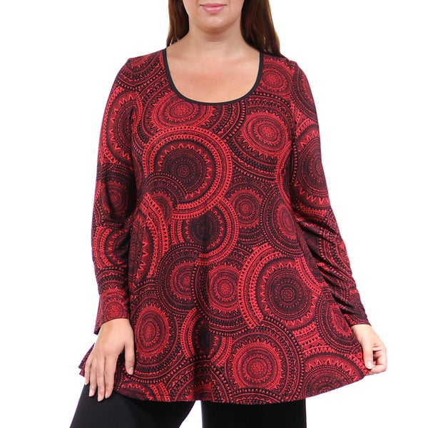 24/7 Comfort Apparel Women's Plus Size Black&Red Oriental Printed Tunic
