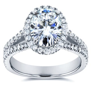 Annello 14k White Gold Oval Moissanite and 1/2ct TDW Diamond Halo Engagement Ring (G-H, I1-I2)