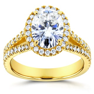 Annello 14k Yellow Gold Oval Moissanite and 1/2ct TDW Diamond Halo Engagement Ring (G-H, I1-I2)