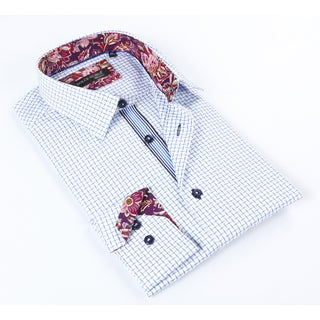 Dolce Guava Men's Light Blue Patterned Button Down Shirt