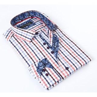 Dolce Men's Guava Blue Patterned Button Down Shirt