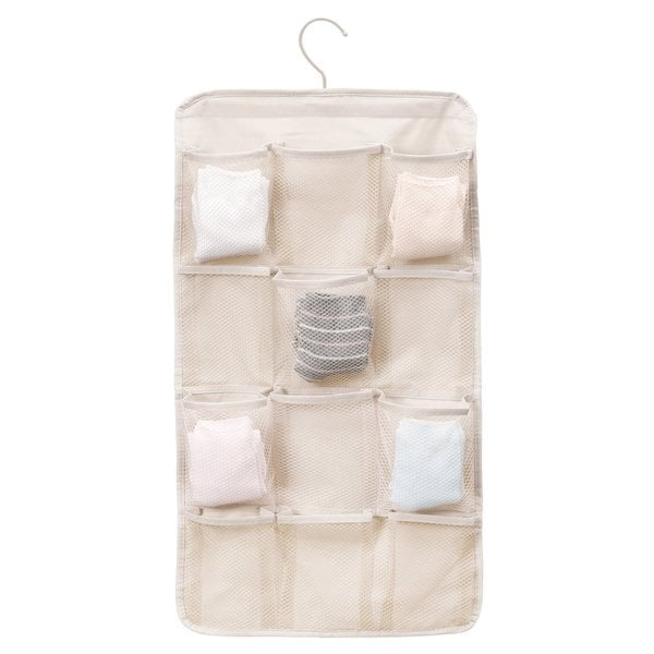 StorageManiac Durable Hanging Organizer, Double-sided Storage Bag with 12 Mesh Pockets and 2 PPE Pockets