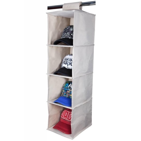 StorageManiac Collapsible 4-shelf Durable Canvas Hanging Closet Organizer Beige