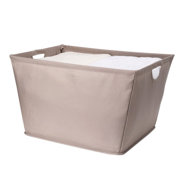 StorageManiac Wire Frame Folding Storage Basket, Durable Open Tapered Fabric Storage Bin with Built-in Handles