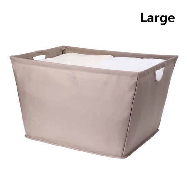 StorageManiac Wire Frame Folding Storage Basket, Durable Open Tapered Fabric Storage Bin with Built-in Handles