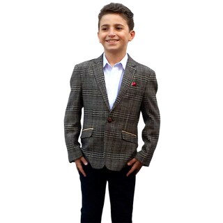 Elie Balleh Boy's Milano Italy 2015 Style Brown and Blue Check Jacket/ Blazer