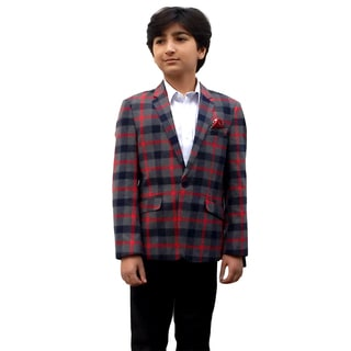 Elie Balleh Boy's Milano Italy 2015 Style Red Check Jacket/ Blazer