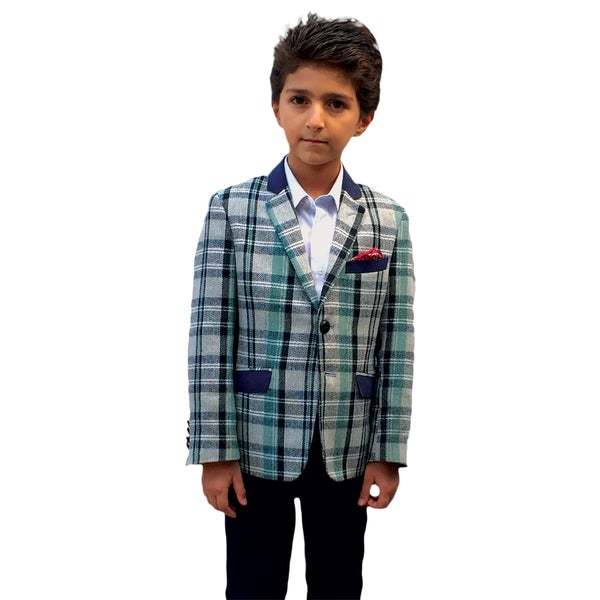 Elie Balleh Milano Boys' Blue Plaid Jacket/ Blazer