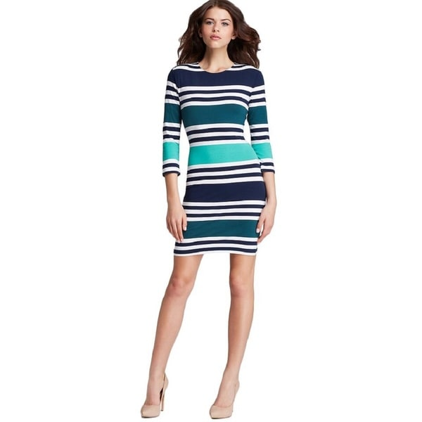 French Connection Women's 'Jag' Green and Navy 3/4-Length Sleeve Stretch Dress