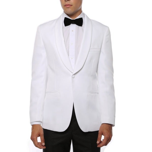 Zonettie Mens Slim Fit White Shawl Collar Tuxedo Blazer