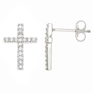 Sterling Silver 1/4 CTTW Diamond Cross Earrings ( H-I I1-I2 )