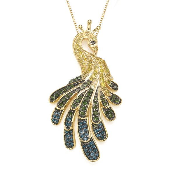 Sterling Silver Yellow Gold plated 0.90 CTTW Yellow and Black Diamond Peacock Necklace