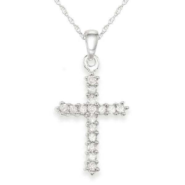 10K White Gold 1/4 Cttw Diamond Cross Necklace (H-I, I1-I2)