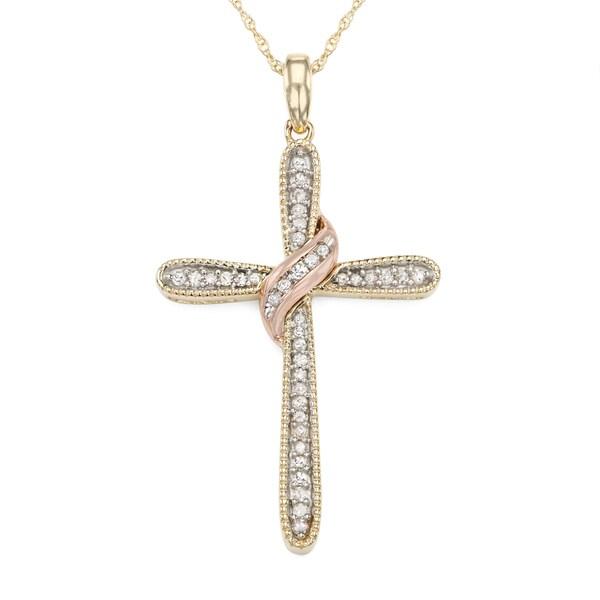 10K Yellow Gold 0.18 CT Diamond Cross Necklace (H-I, I1-I2)